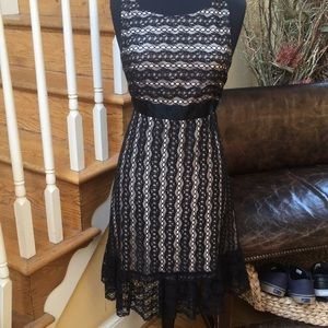 Milly Black Lace Nude Satin Lining Dress 12
